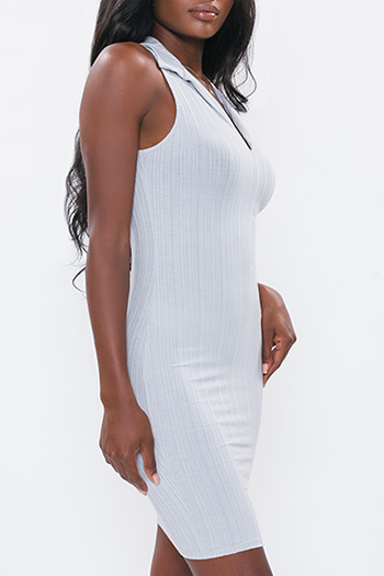 Junior Alternating Ribbed Dress With Collar