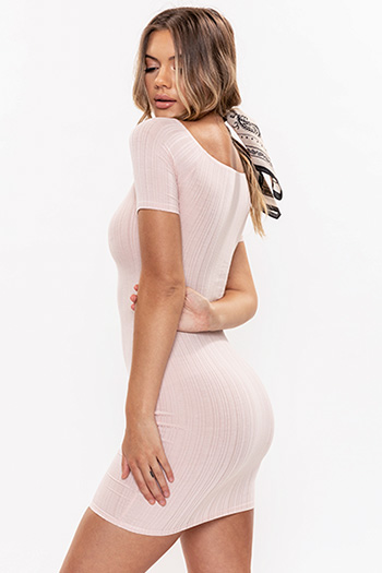 Junior Ribbed Bodycon Scoop Neck Dress