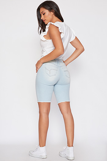 Junior WannaBettaButt Mid-Rise Denim Bermuda with Fray Hem