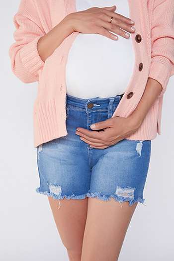 Women Destructed Maternity Shorts With Elastic Side Inserts