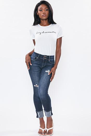 Junior Stacked Button Mid-Rise Mega Cuff Skinny Jean