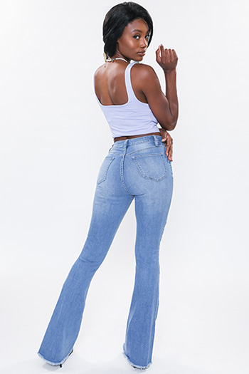 Junior High-Rise Flare Jean With Frayed Hem