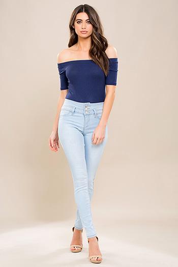 Junior High-Waist 3-Button Denim Skinny Jean