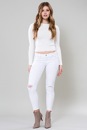 Junior WannaBettaButt Skinny with Frayed Hi-Lo Hem