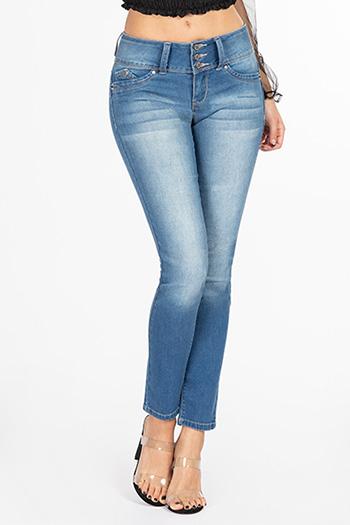 Junior WannaBettaButt 3-Button Wide Waist Skinny Jean