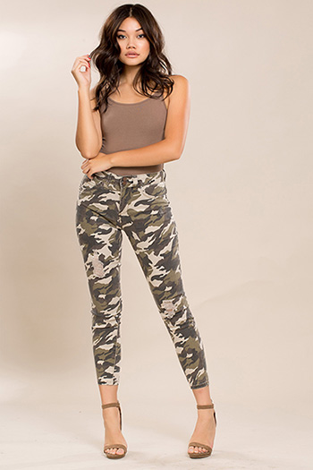 Junior WannaBettaButt Camo 2-Button High Waist Anklet