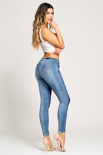 Junior Mid-Rise Two-Tone Skinny Jean