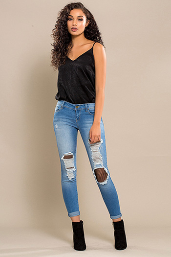 Junior Distressed Fishnet Skinny