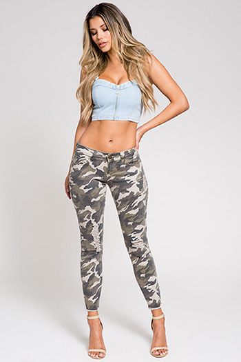 Junior Camo Skinny with Frayed Hem