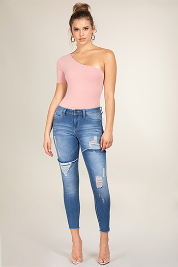 Junior WannaBettaButt Foldover Distressed Skinny Jean