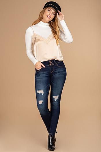 Junior 3-Button WannaBettaButt Denim Skinny Jeans