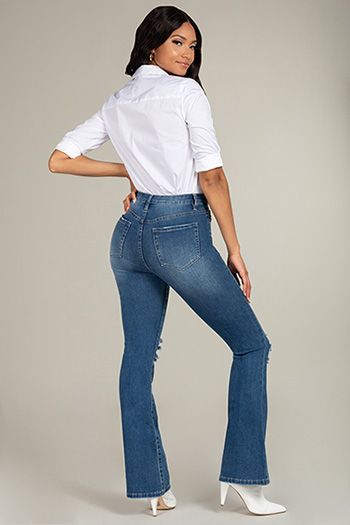 Junior Dream High-Rise Flare Distressed Jean
