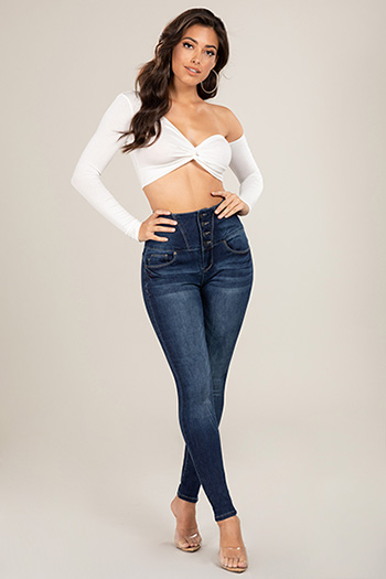 Junior Secrets 4-Button Corset Sky-High-Rise Skinny Jean
