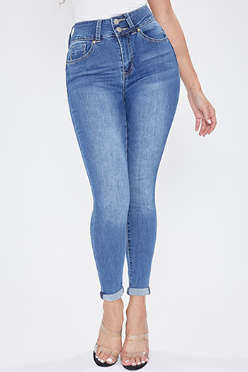 Junior Secrets 2-Button Super High-Rise Denim Cuffed Ankle Jean