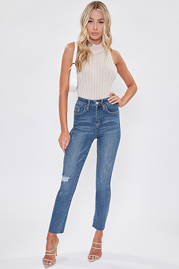 Junior Vintage Dream High-Rise Denim Ankle Jean with Raw Hem