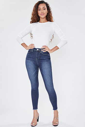 Junior Secrets High-Rise Frayed Ankle Jean
