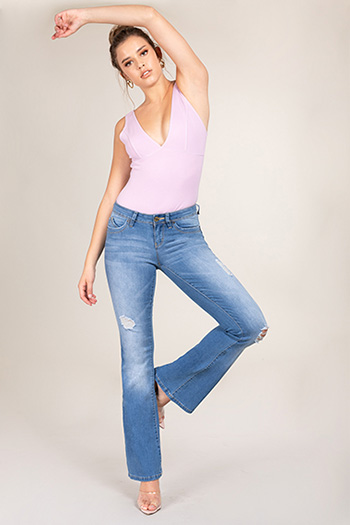 Junior WannaBettaButt Low-Rise Distressed Flare Jeans