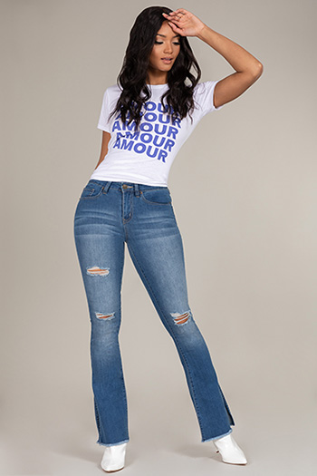Junior Mid-Rise Distressed Denim Flare Jean with Side Slit