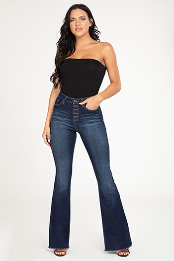 Junior Button-Fly High-Rise Denim Flare Jean