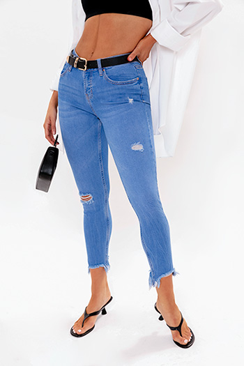Junior Mid-Rise Ankle Jean With Dog Bite Hem