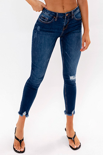 Junior Mid-Rise Jean With Destructed Ankle Hem