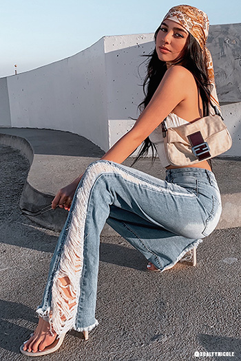 Junior High-Rise Flare Jean With Side Panel Destruction