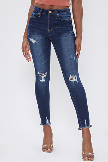 Junior YMI Denim Collection High-Rise Ankle Jean With Dog Bite Hem