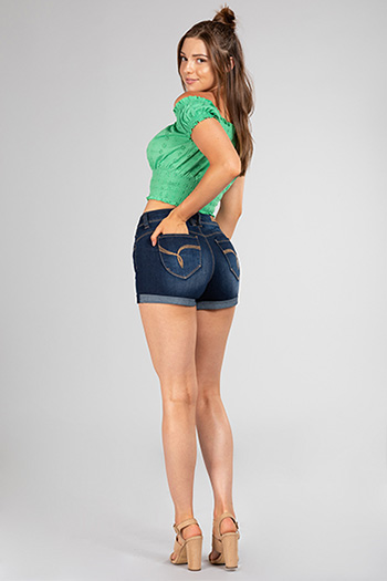 Junior WannaBettaButt High-Rise Cuffed Denim Shorts