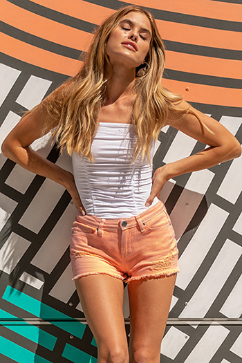 Junior Dream Mid-Rise Distressed Hybrid Shorts with Fray Hem