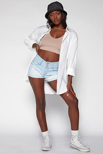 Junior WannaBettaButt 3 Button Raw Edge Cuffed Shorts Made From Recycled Fibers
