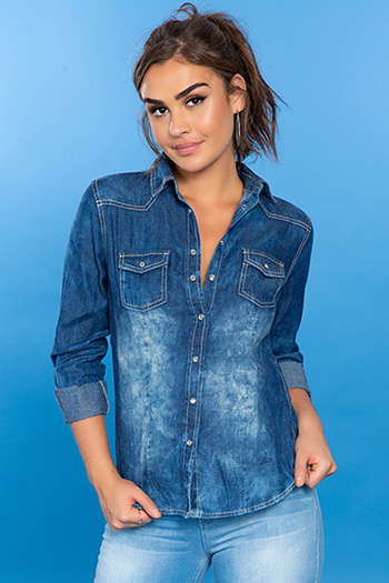 Junior Chambray Button-Up Top