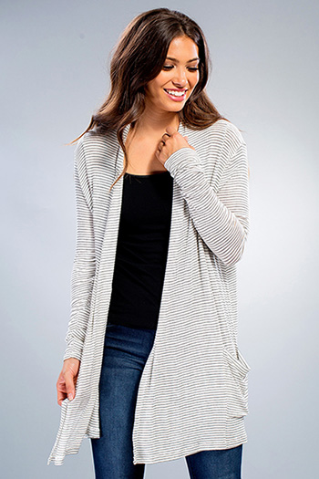 Junior Long Sleeve Striped Cardigan with Pockets