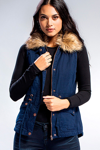 Junior Utility Vest with Detachable Faux Fur Collar