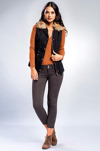 Junior Utility Vest with Detachable Faux Fur Collar