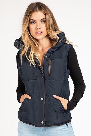 Junior Navy Puffer Vest with Fur Collar