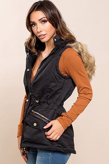 Junior Vest with Detachable Fur Hood