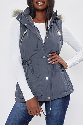Junior Vest with Detachable Faux Fur Hood