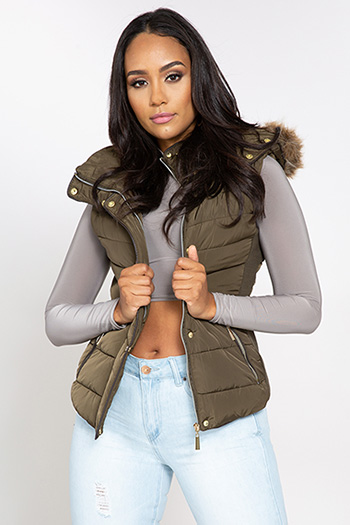 Junior Parka Vest with Faux Fur Hood