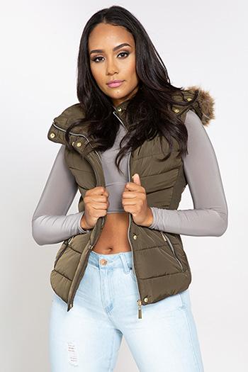 Junior Parka Vest with Faux Fur Hood