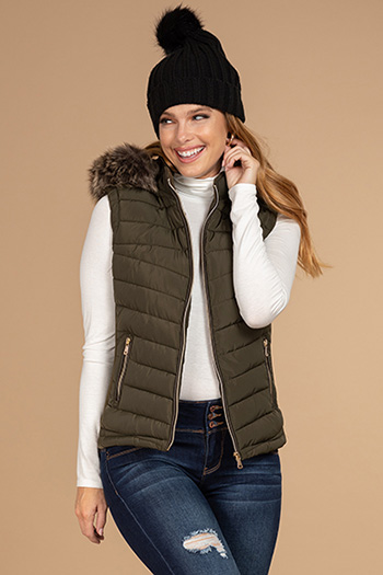 Junior Vest with Removable Fur Trim Hood