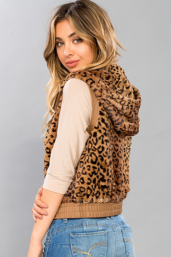 Junior Faux Fur Vest with Pleather Trim