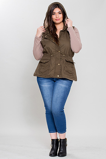 Junior Plus Size Cotton Vest with Detachable Hood