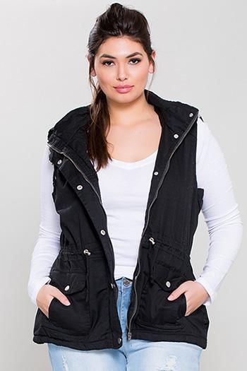 Junior Plus Size Cotton Vest with Detachable Hood