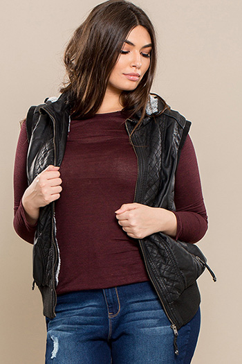 Junior Plus Size Faux Leather Vest with Fur Lining