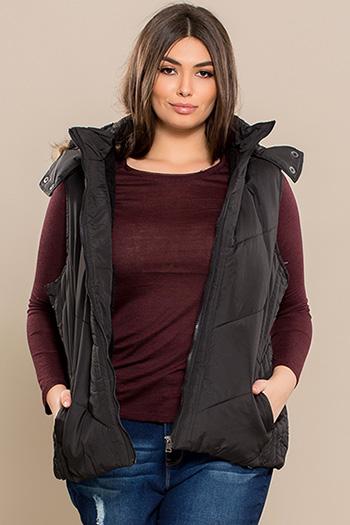 Junior Plus Size Vest with Fur Lining