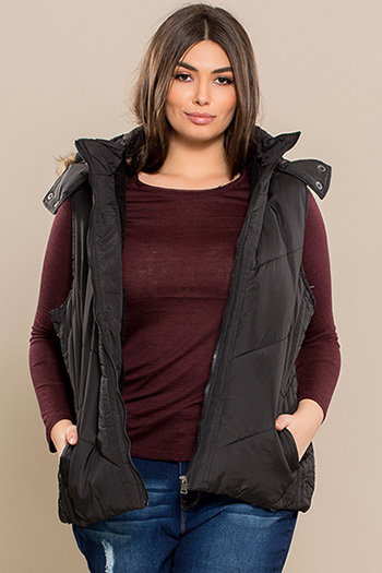 Junior Plus Size Vest with Fur Lining