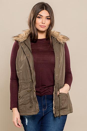 Junior Plus Size Cotton Vest with Fur Lining