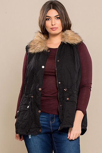 Junior Plus Size Cotton Vest with Fur Lining
