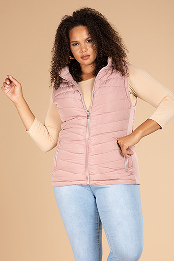 Junior Plus Vest With Removable Fur Trim Hood