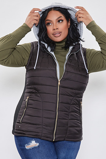 Junior Plus Size Vest With Detachable Hoodie